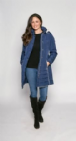 db640 Womens Luxury Padded Warm  Navy Coat